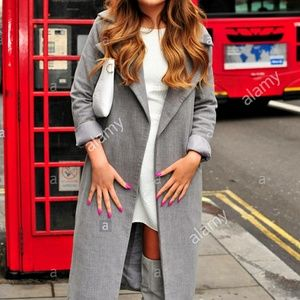 Missguided Khloe Waterfall grey trench warm coat